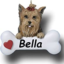 Personalized Yorkie Yorkshire Terrier Dog with Bow and Dog Bone with Red Heart Detail Hanging Christmas Tree Ornament with Custom Name - 3 inches