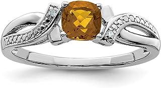 925 Sterling Silver Whiskey Quartz Diamond Band Ring Gemstone Fine Jewelry For Women Gift Set