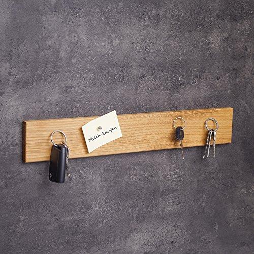 WOODS Colgador de llaves de madera magnético I Soporte para llaves I Barra magnética I Decoración de pared de madera hecha a mano en Baviera I Colgador de llaves Home I Soporte para llaves (roble, 45 cm)
