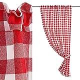 Cortina de Cuadro Vichy roja y Blanca de poliéster de 100x165 cm - LOLAhome