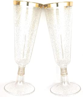 70pc Glitter Plastic Classicware Glass Like Champagne Wedding Parties Toasting Flutes Party Cocktail Cups (Gold Rimmed w/Gold Glitter)