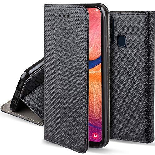 Moozy Hülle Flip Hülle für Samsung A20e, Schwarz - Dünne Magnetische Klapphülle Handyhülle mit Standfunktion