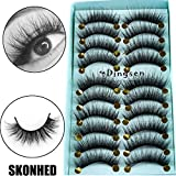 10 Pairs 3D Faux Mink Hair False Eyelashes Thick Long Fluffy Wispy Lashes Multilayer Flutter Lashes