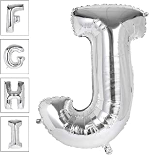 Lovne 40 Inch Jumbo Silver Alphabet J Balloon Giant Prom Balloons Helium Foil Mylar Huge Letter Balloons A to Z for Birthday Party Decorations Wedding Anniversary