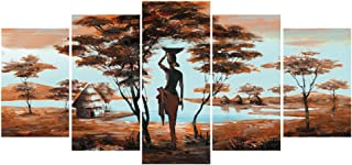 GEVES African Tribe House Beauty Landscape Giclee Canvas Prints Artwork Paintings Pictures on Canvas Wall Art for Living Room Home Decoration Framed