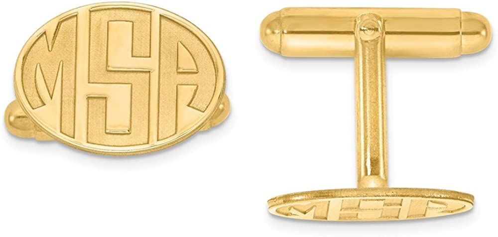 Solid 14k Yellow Gold Recessed Letters Oval Monogram Cufflinks - 12mm x 17mm