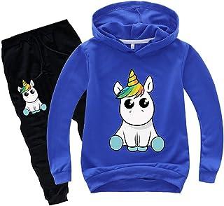 Silver Basic Unicorno Manica Lunga Felpa con Cappuccio e Pantaloni Puro Color Ragazze Sportivo Maglia