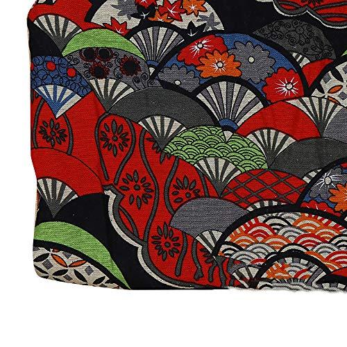 Rancheng Style japonais Tissu 50cmx150cm Imprimé Fans Tissus au Metres Matériel Bricoalge Couture pour Robe Jupe Chemise Vêtements Patchwork Artisanats tissu a coudre DIY Loisirs créatifs Noir