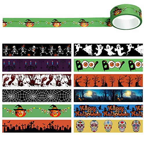 Aneco 12 Rolls Halloween Washi Tapes Paper Masking Tape Fall Washi Tape for DIY Decor Planners Halloween Gifts Bags
