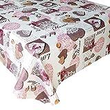 Mantel Hule Love · Mantel Antimanchas Resistente y Lavable · Mantel Mesa Rectangular en PVC · Hules para Mesas · Múltiples Diseños y Económicos · Medidas ( 160 cm x 140 cm )