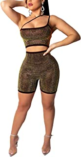 94ff3452abdc Womens Sexy Sequins Jumpsuit Crop Top Sleeveless Bodycon Zip Back Short  Jumpsuit Club Romper