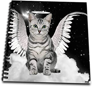 3dRose db_62893_2 Gray Tabby Cat Angel Sitting on a Cloud with a Cute Halo and Angel Wings Memory Book, 12 by 12-Inch