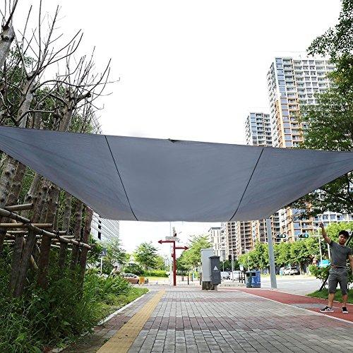 Yosoo Voile d'ombrage rectangulaire Jardin, terrasse, Rue et étrangères, protecion UV,imperméable, avec Sac de Transport et Cordes (3 x 4m, Gris)