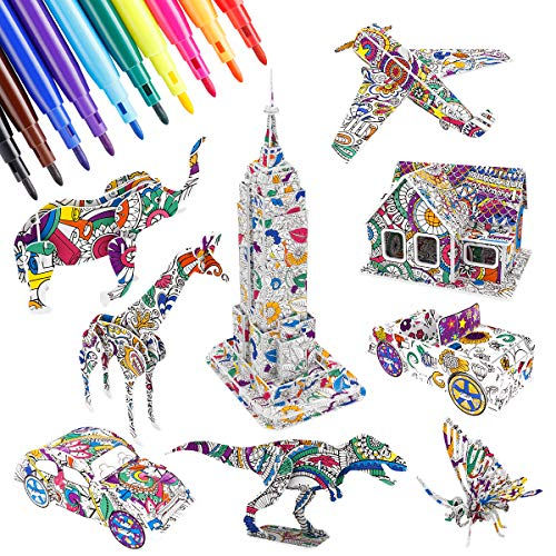 EXTSUD 3D Coloring Puzzle Kit, 9-Pack Puzzles with 10 Markers, Art Coloring Painting 3D Puzzle Toys for 3 4 5 6 7 8 Years Old Boys Girls, Fun Creative DIY Buliding, Animals, Cars, Airplane