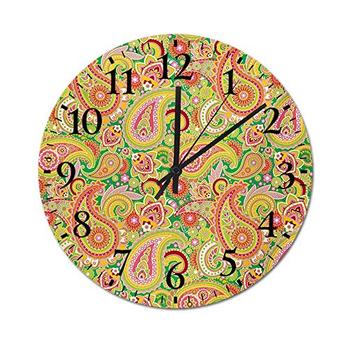 Quartz Clock Traditional Persian Paisley Pattern Print with Elements Vintage Wall Clock Silent Quality Quartz for Home Office School Decor Multicolor 23.6 Inch
