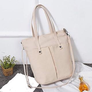 Wultia - Bags for Women Fashion Girls Canvas Solid Color Multi-Pocket Shoulder Bag Messenger Bag Bolsa Feminina Beige