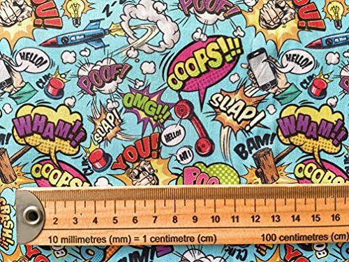 John Louden Comic Book Words - Tela de algodón extra ancha de 152 cm (100% algodón, ideal para manualidades, vestidos de disfraces, manteles, tela infantil)