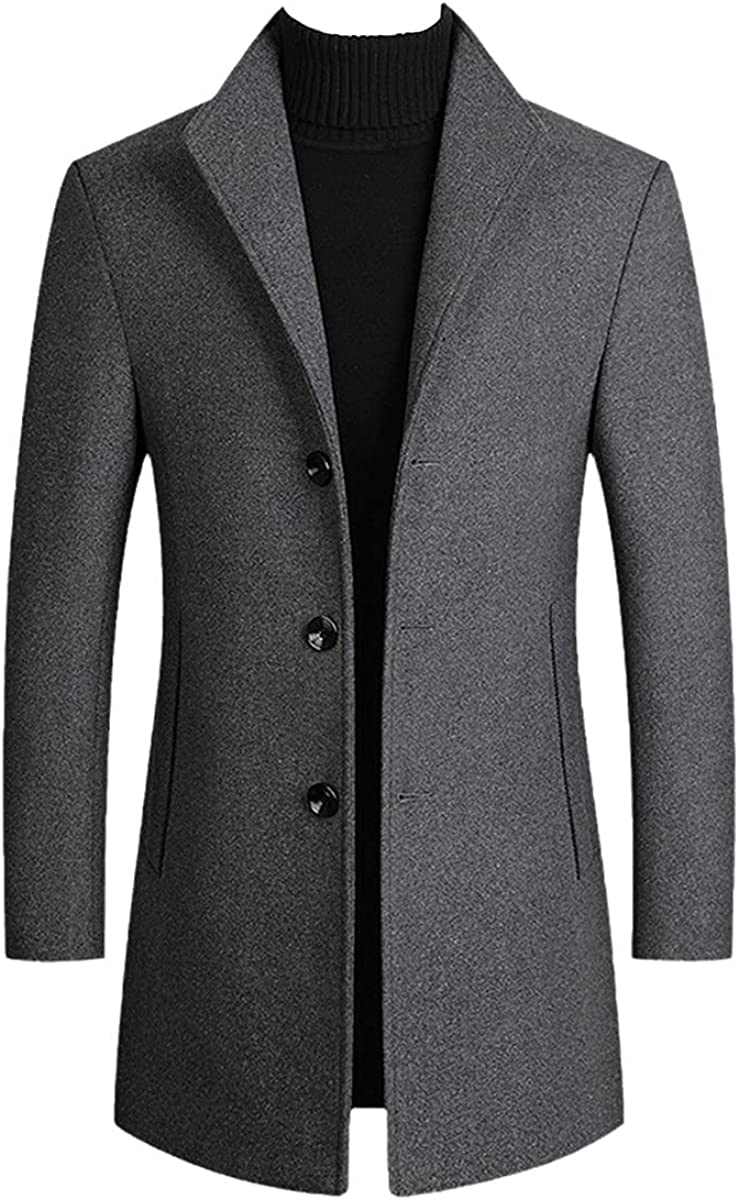 Men's Wool Blended Coat For Fall And Winter Solid Color Men's Woolen Coat Wool Blended Coat