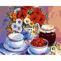 デジタル絵画花いちごDIY油絵 数字キットによる絵画使用するブラシとアクリル顔料アートの家の装飾 40x50cm (フレームレス)