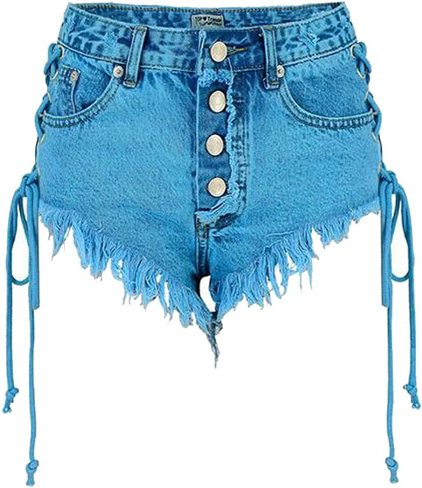 MOUTEN Womens Bodycon Cut Off Sexy Lace Up High Rise Denim Shorts Jeans Hot Pants