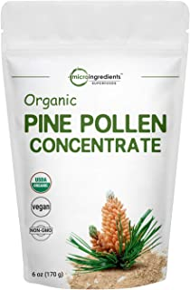 USDA Organic Pure Pine Pollen Powder, 6 Ounce, Supports Immune System Health, Boosts Energy, Antioxidant and Androgenic, N...