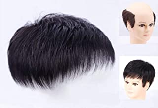 Qualife Men's Hairpiece Wig for Men, Hair Patch for Men Toupee, Hair Piece on the Top of Head,Hair Replacement Natural Bla...