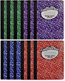 Composition Book Notebook - Hardcover, Wide Ruled (11/32-inch), 100 Sheet, One Subject, 9.75' x 7.5', Assorted Covers: Red, Blue, Green, Purple-12 Pack