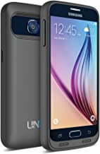 Galaxy S6 Battery Case - UNU DX for Galaxy S6 3600mAh Portable Charger Rechargeable External Protective Battery Pack Power Juice Bank Cases for Samsung Galaxy S6 - Black/Black
