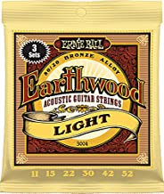Ernie Ball P03004 Earthwood Light 80/20 Bronze Acoustic Guitar Strings 3-Pack, 11-52 Gauge, Light