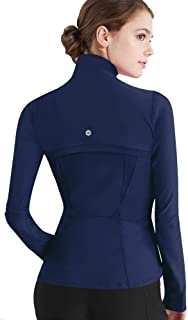 Women's Full Zip-up Yoga Workout Running Track Jacket with Thumb Holes