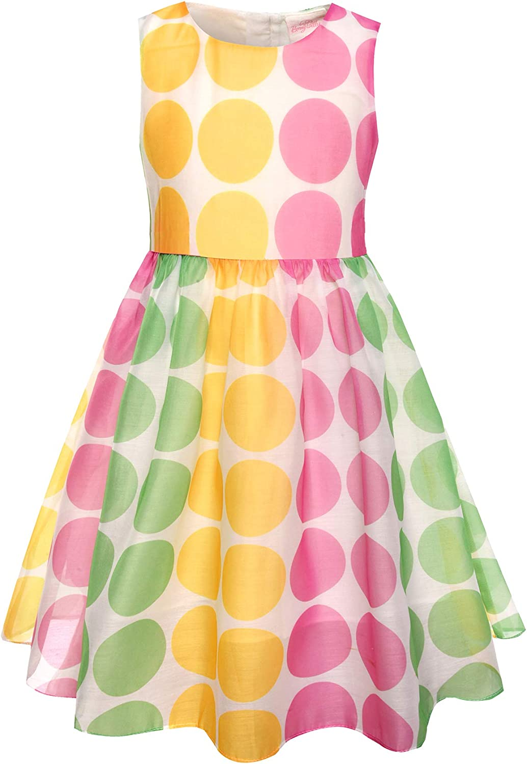 SPEINY Girls Sleeveless Candy Dots Printed Summer Dresses Kids Clothes