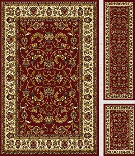 Home Dynamix Royalty 3 Piece Area Rug Set (Red/Ivory)