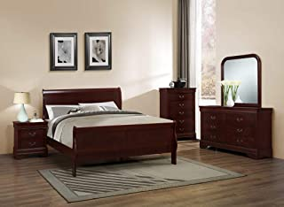GTU Furniture Classic Louis Philippe Styling Deep Cherry 5Pc King Bedroom Set(K/D/M/N/C)