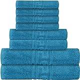 Lot de 8 serviettes de bain - 2 serviettes de bain, 2 serviettes de toilette et 4 gants de toilette - 600 g/m² - 100 % coton égyptien - Super absorbant et super doux (bleu sarcelle, 8 pièces)