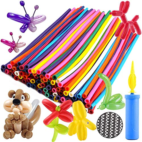 OOTSR Balloon Animal Making Kit, 260Q Long Animal Balloons (100pcs), Unbreakable Air Pump 1pc, Eye Stickers 1 Sheet - Thickening Latex Twisting Balloons for Wedding Birthday Clown Party Decorations