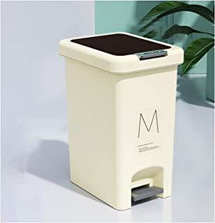 Commercial Waste Basket Covered Foot-Operated Trash Can Household Kitchen Bathroom Living Room Office Trash Can Long Cylin...