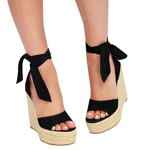Syktkmx Womens Lace Up Platform Wedge Espadrille Heel Peep Toe Slingback  D Orsay Sandals e6edbef7db