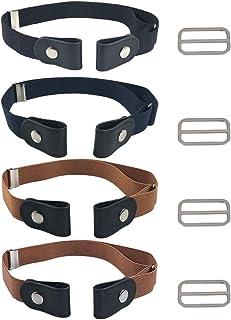 FOCCTS Juegos de 4pcs Cinturones Elástico Invisibles sin Hebilla para Hombre,Mujer y Personas con Necesidades Especiales