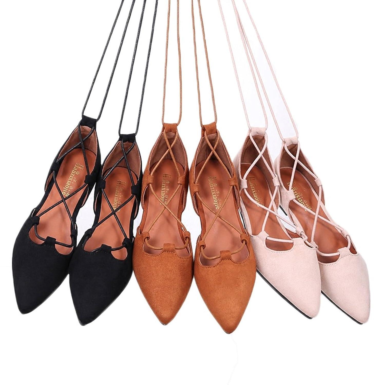 [サニーサニー] レディース パンプス レースアップ フラットシューズ コスプレ 編み上げ 可愛い ローヒール 美脚 カジュアル 軽い 痛くない 歩きやすい 大きいサイズ 防滑 疲れにくい ファッション 春 夏 ぺたんこ靴