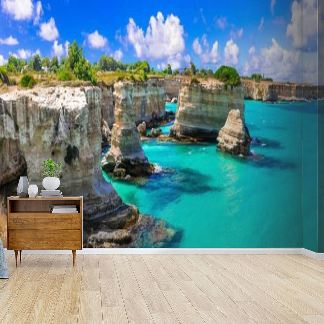 Wallpaper New sales Canvas Print Wonderful sea in Puglia Torre In stock di Scenery