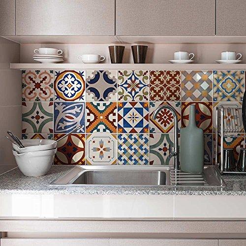 Lot de 24 autocollants en PVC pour décoration de carrelage de salle de bain et cuisine, 10 x 10 cm, fabriqué en Italie, motif stickers muraux