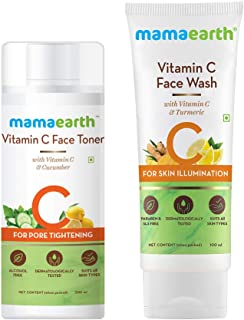 Mamaearth Vitamin C Glowing Skin Combo(Vitamin C - Face Wash 100ml + Toner 200ml)
