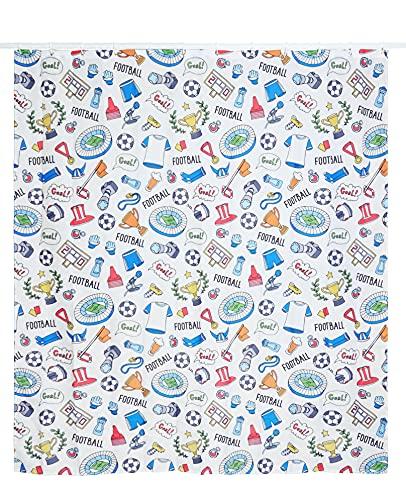 Duschvorhang Fußball, wasserdicht, Polyester, Weiß mit Pattern, B x H: 180 cm x 200 cm