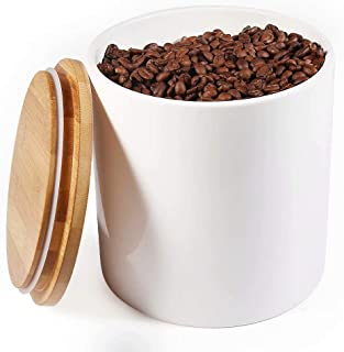 77L Food Storage Canister - Ceramic Food Storage Canister with Airtight Wooden Lid, 82.09 FL OZ (2430 ML) White Food Storage Jar for Home and Kitchen Serving for Coffee, Sugar, Tea, Flour and More