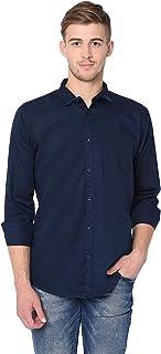Garmend Mens Pure Cotton Casual Shirt Men Full Sleeves Fashion Multi Color (Navy Blue, X-Large)