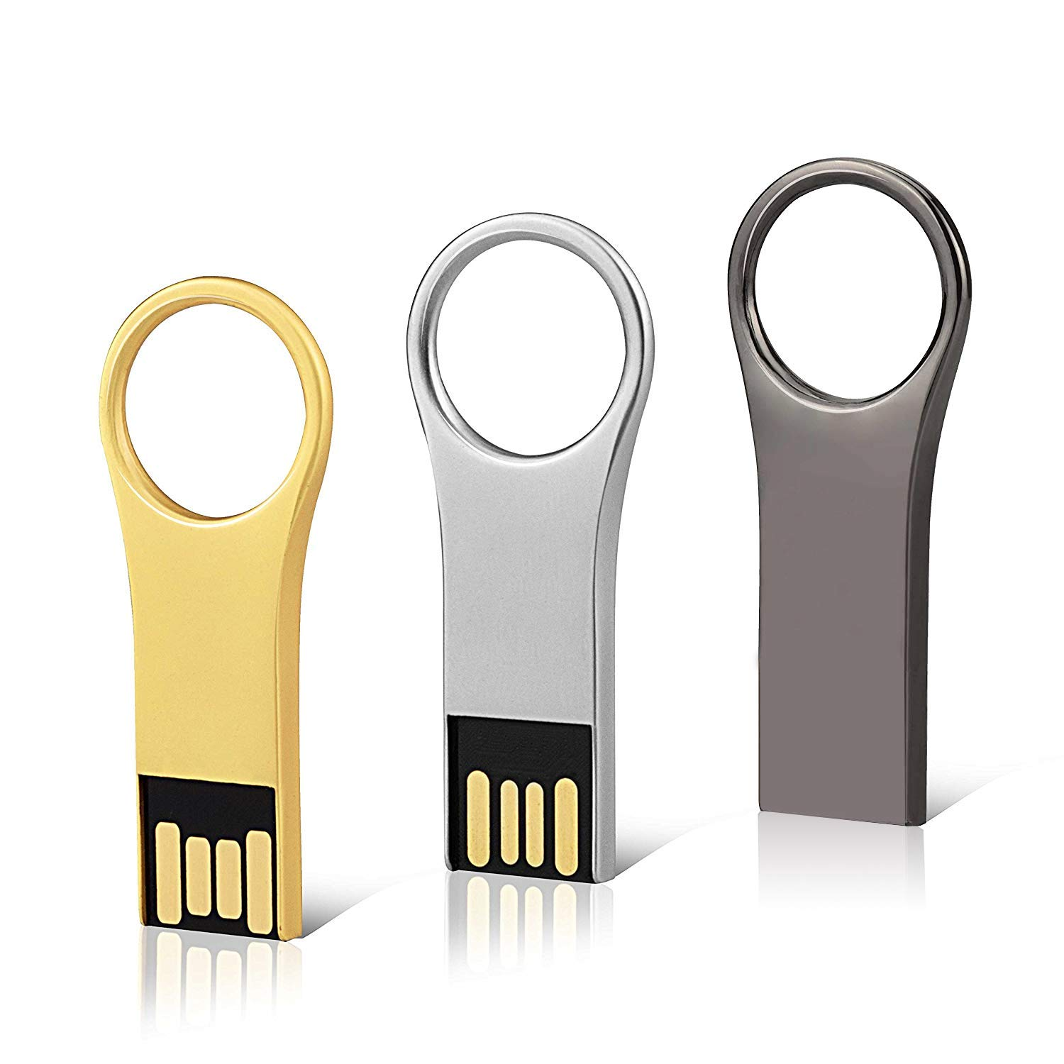 KEXIN 3 PCS 32GB Memoria Flash USB 2.0, Pendrive 32GB Metal USB Portátil Impermeable Flah Drive 2.0 (3 Colores Mixtos: Oro, Plata, Negro): Amazon.es: Informática