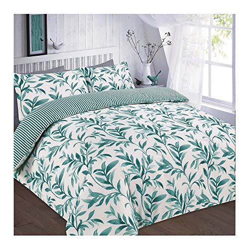 Leaf Duvet Cover Set with Pillowcases King Size Polycotton Floral, Ellie Teal