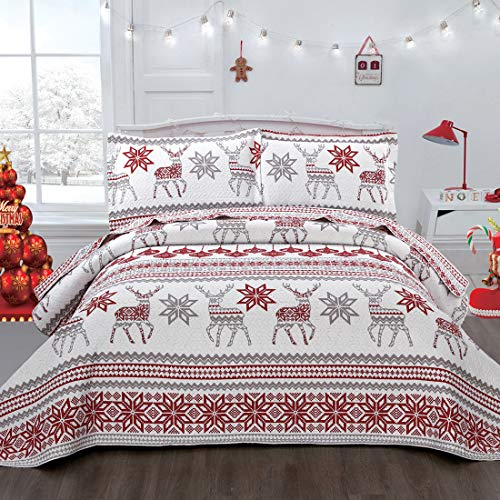 Moose Quilts Set Full/Queen Size, Lodge Lightweight Bedspread Coverlet with Reindeer/Snowflake, Rustic Christmas/Xmas Bedding Set Reversible Quilt Cover- White/Red
