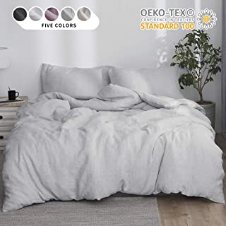 Simple&Opulence 100% Linen Stone Washed 3pcs Basic Style Solid Duvet Cover Set (Twin, Grey)