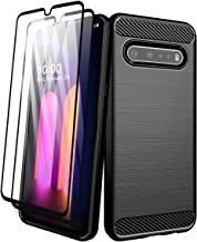 Aliruke Case for LG V60 ThinQ 5G Case with Tempered Glass Screen Protector[2 Pack], Slim Shockproof TPU Bumper Cover Flexi...